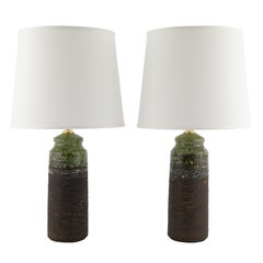 1960s Tilgmans of Sweden Brown Stoneware Table Lamps with Green Glaze Accents