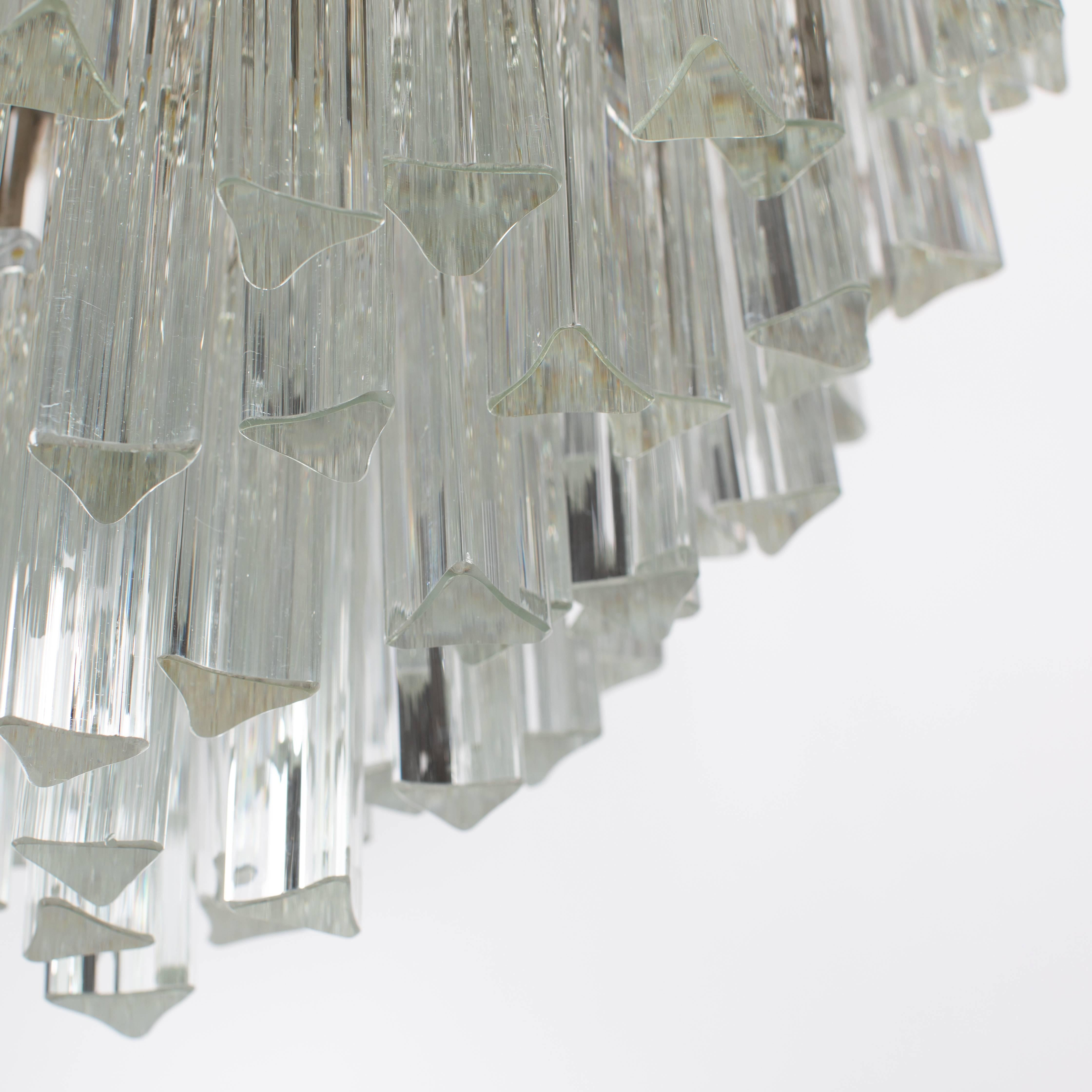 Camer Murano Tiered Prism Crystal Chandelier, Circa 1970S For Sale