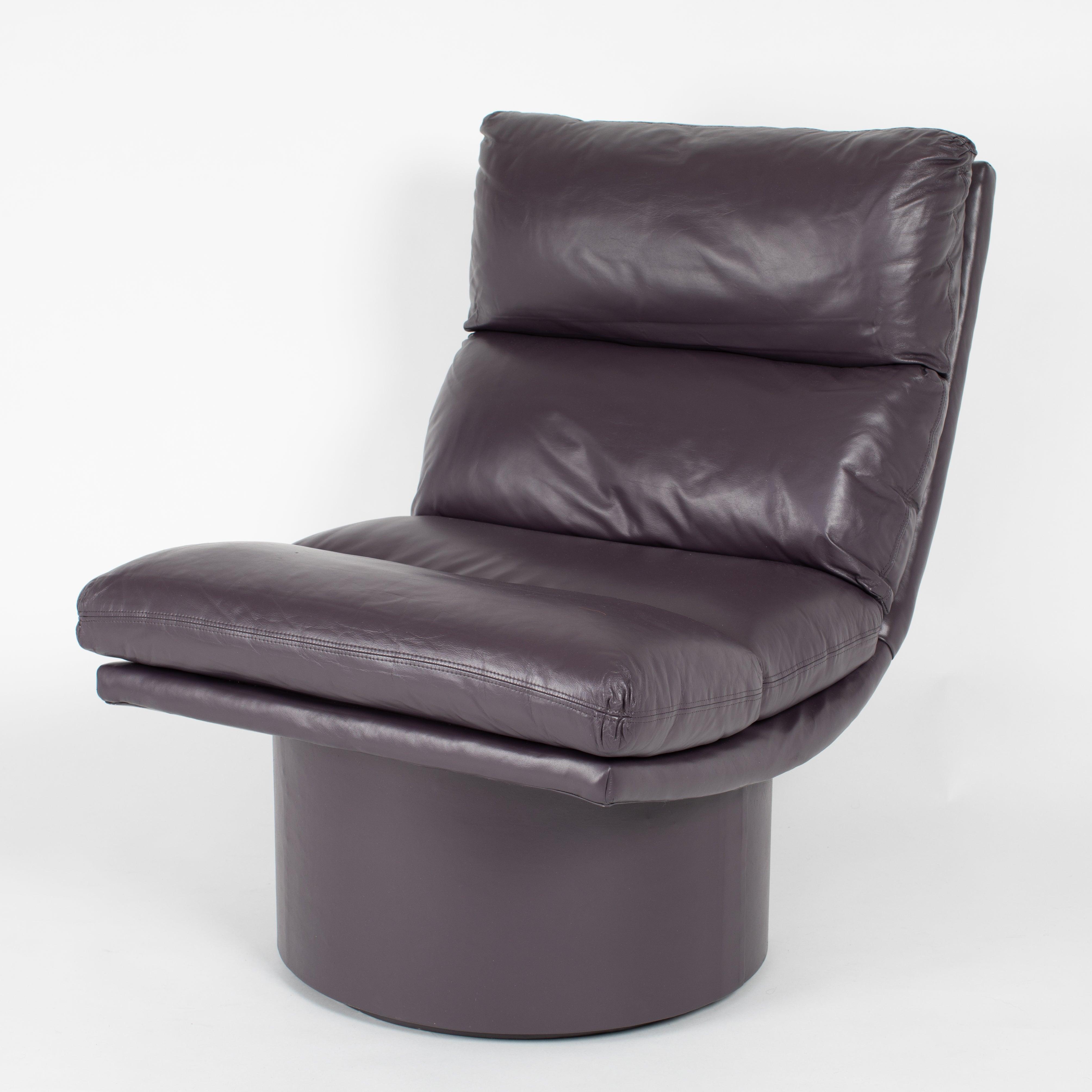 Stupendous Eggplant Leather Scoop Chairs On Swivel Bases Circa 1980S Evergreenethics Interior Chair Design Evergreenethicsorg