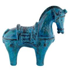 "Large ""Rimini Blu"" Ceramic Horse by Aldo Londi for Bitossi, circa 1960s"