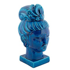 """""""Rimini Blu"""" Ceramic Guan Yin Bust by Aldo Londi for Bitossi, circa 1960s"""