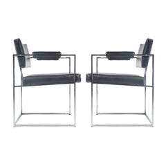 Pair of Milo Baughman for Thayer Coggin Chrome Armchairs, Circa 1970s