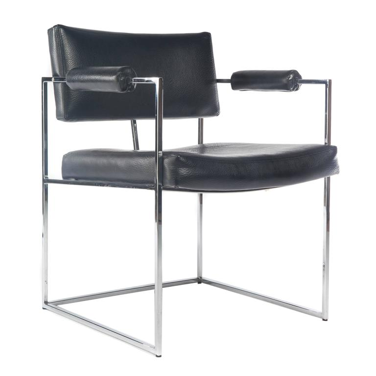 Late 20th Century Pair of Milo Baughman for Thayer Coggin Chrome Armchairs, Circa 1970s For Sale