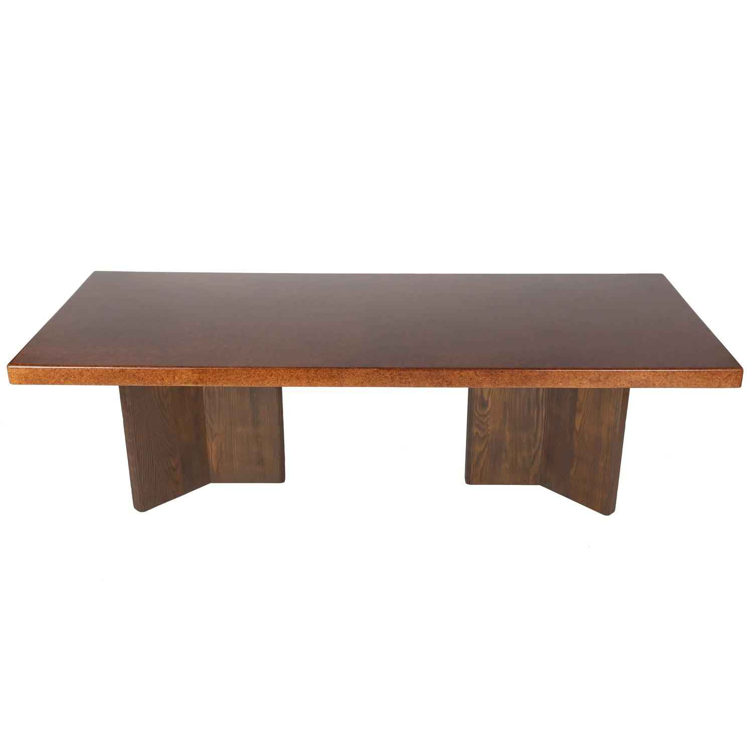 dining room furniture cork | Large Cork-Top Dining Table by Paul Frankl For Sale at 1stdibs