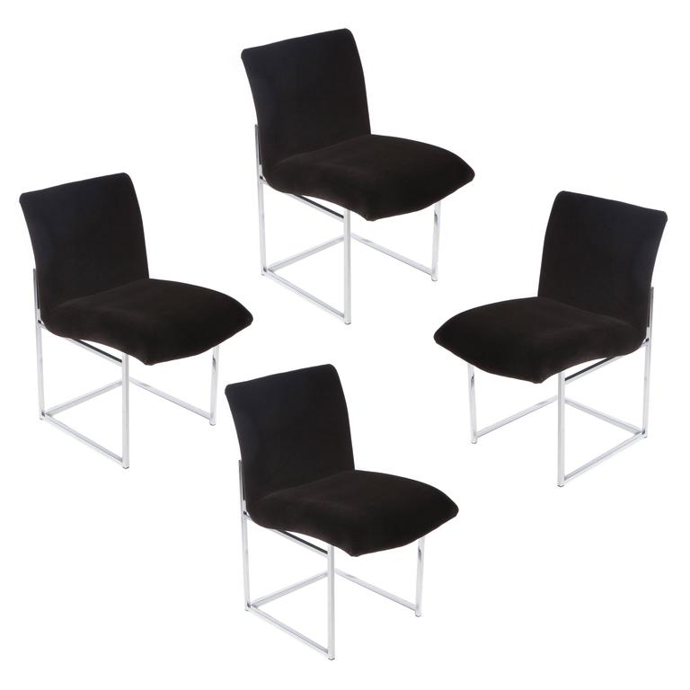 Set of Four Chrome and Mohair Dining Chairs by Milo Baughman, Circa 1970s For Sale
