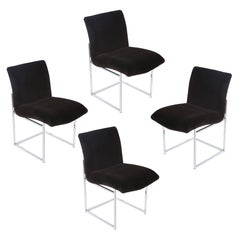 Set of Four Chrome and Mohair Dining Chairs by Milo Baughman, Circa 1970s
