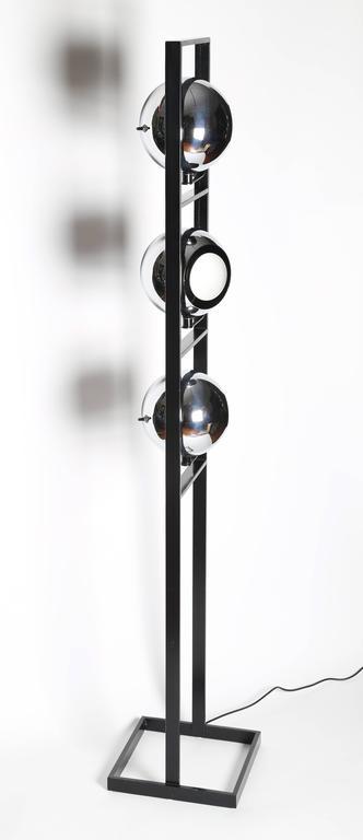 1970s Italian Three-Head Chrome and Steel Floor Lamp For ...