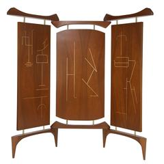 Asian-Inspired Three-Panel Mexican Screen in Walnut, Grass and Brass