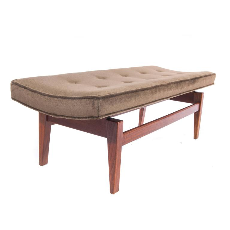 Mid-20th Century Jens Risom Pair of 1960s Cantilevered Walnut and Mohair Benches For Sale