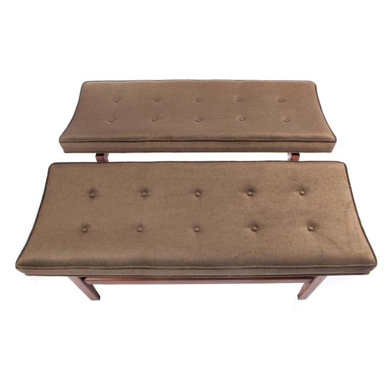 American Jens Risom Pair of 1960s Cantilevered Walnut and Mohair Benches For Sale