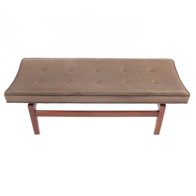 Jens Risom Pair of 1960s Cantilevered Walnut and Mohair Benches For Sale 4