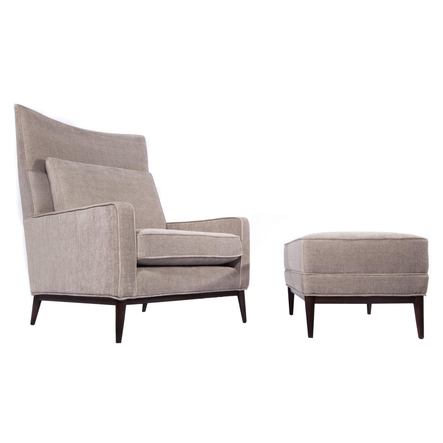 Paul McCobb Wingback Chair and Ottoman at 1stdibs