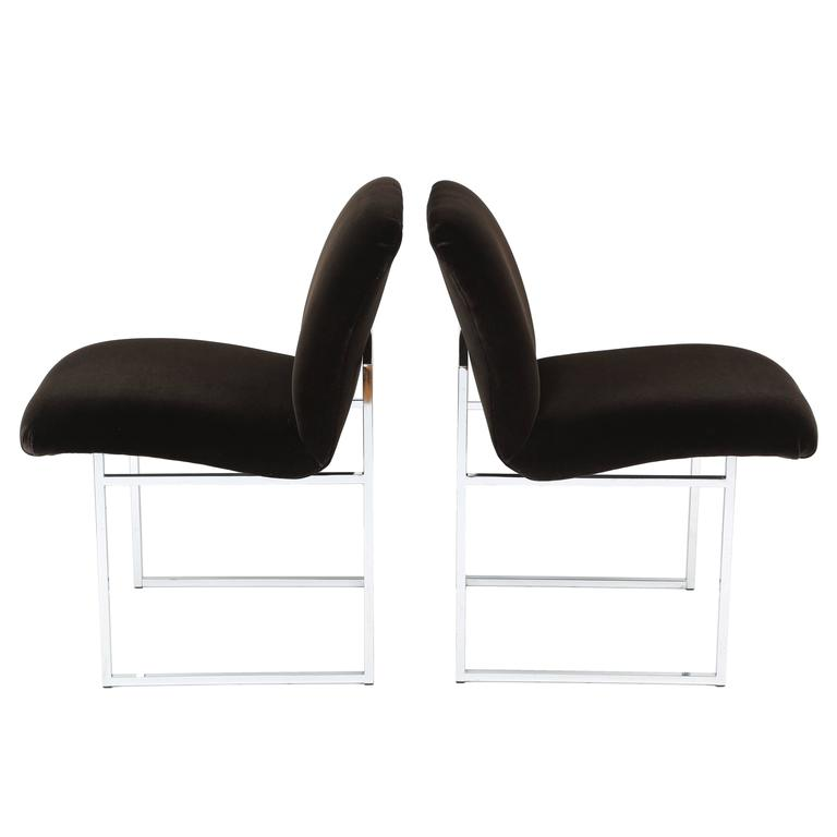 Pair of 1970s Milo Baughman Chrome and Mohair Side or Desk Chairs For Sale