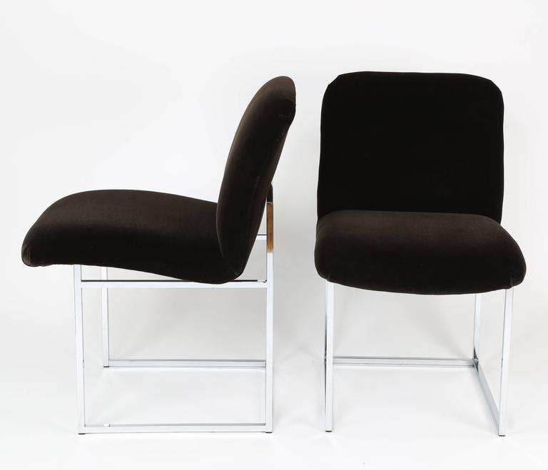 Pair of 1970s Milo Baughman Chrome and Mohair Side or Desk Chairs In Excellent Condition For Sale In Brooklyn, NY