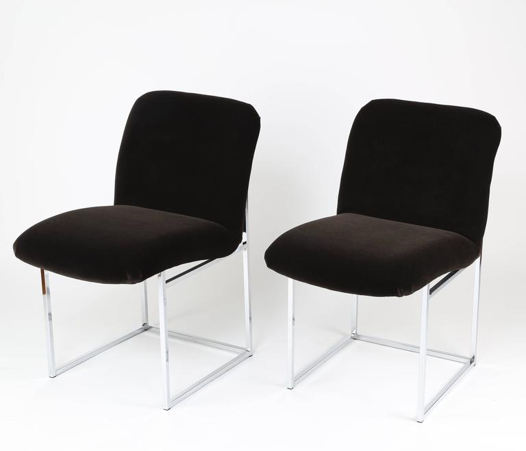These lightweight, sturdy and versatile 1970s chairs are available individually for use as a desk or occasional chair, or as a pair to round out a seating group. Excellent condition with new chocolate-brown mohair upholstery and new foam; chrome