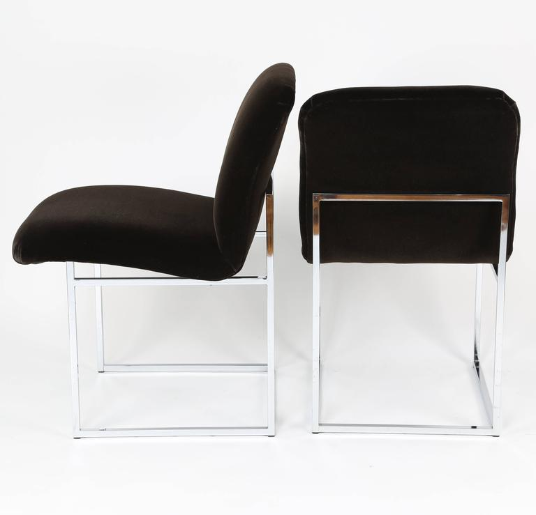 American Pair of 1970s Milo Baughman Chrome and Mohair Side or Desk Chairs For Sale