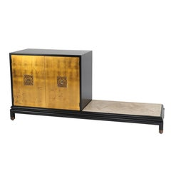Renzo Rutili Cabinet with Bench in Gilt, Black Lacquer & Travertine, Circa 1960s