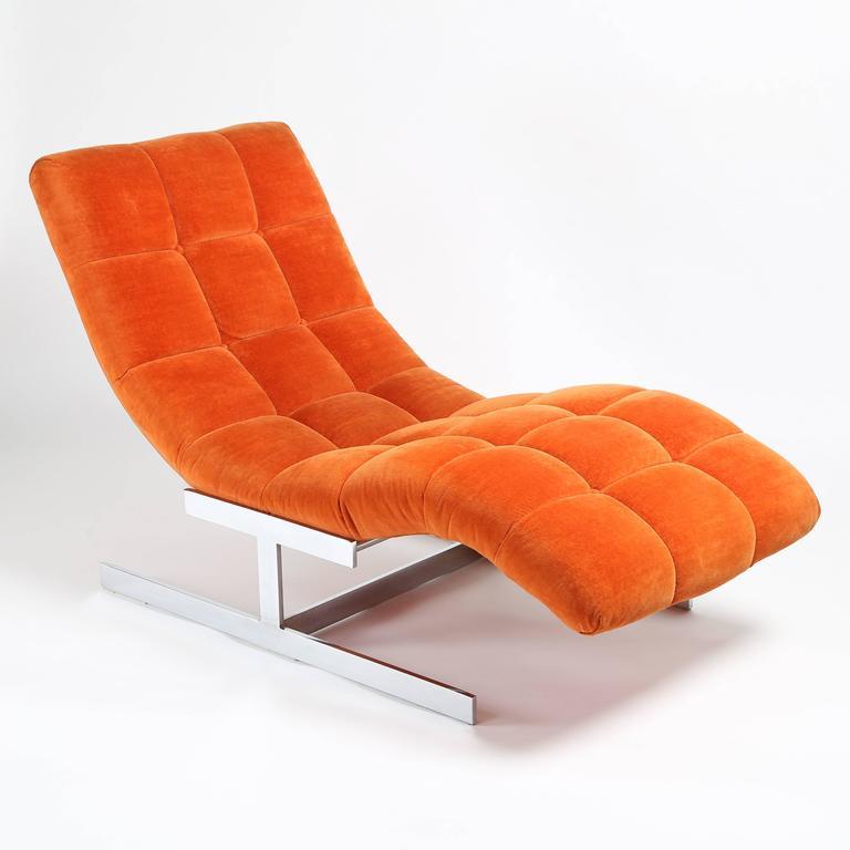 1970s milo baughman wave chaise longue in original for Chaise orange