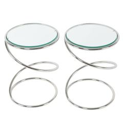 Pair of Pace Collection Chrome Spring Side Tables, circa 1970s