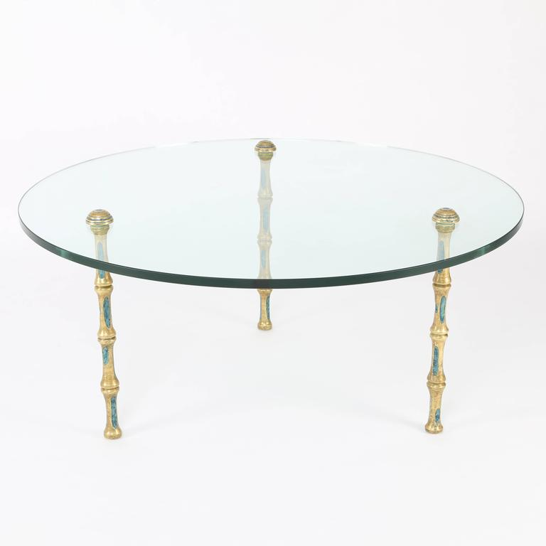 Coffee Table With Bronze Legs: 1950s Pepe Mendoza Glass Cocktail Table On Faux-Bamboo