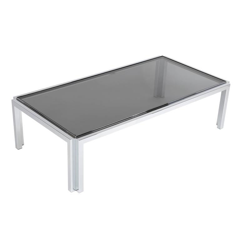 Rectangular Chrome and Smoked-Glass Coffee Table, circa 1970s