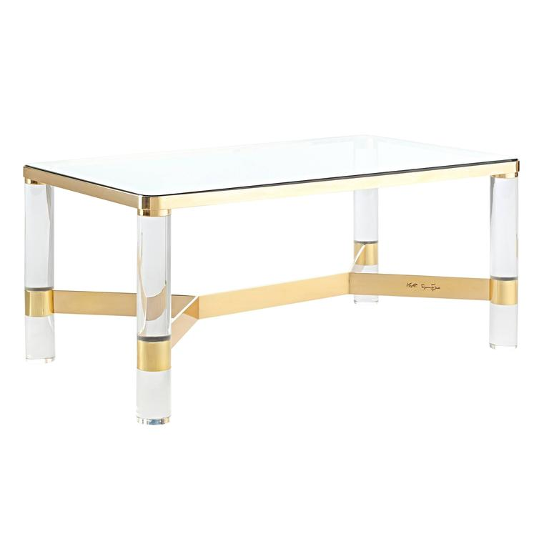 Signed Karl Springer Brass and Lucite Cocktail Table, circa 1980s