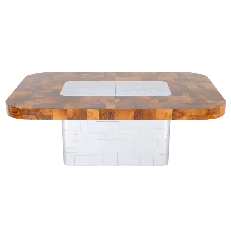 """American Paul Evans """"Cityscape"""" Burl and Chrome Dining Table, circa 1970s For Sale"""