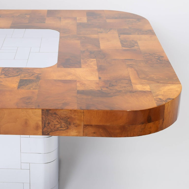 """Late 20th Century Paul Evans """"Cityscape"""" Burl and Chrome Dining Table, circa 1970s For Sale"""