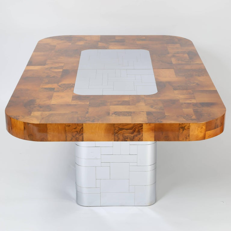 """Patchwork Paul Evans """"Cityscape"""" Burl and Chrome Dining Table, circa 1970s For Sale"""