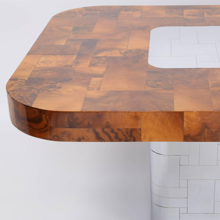 """Paul Evans """"Cityscape"""" Burl and Chrome Dining Table, circa 1970s In Excellent Condition For Sale In Brooklyn, NY"""