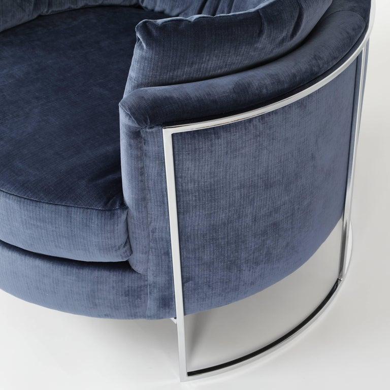 Late 20th Century Milo Baughman Chrome-Frame Barrel Lounge Chair, circa 1970s For Sale