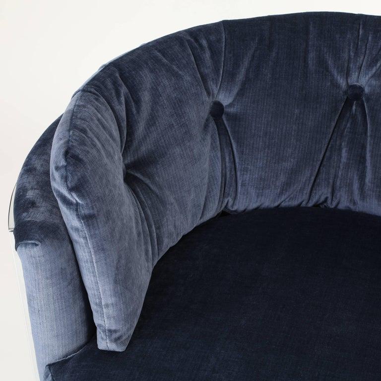 Velvet Milo Baughman Chrome-Frame Barrel Lounge Chair, circa 1970s For Sale