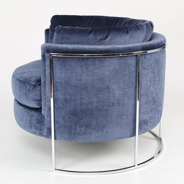 Polished Milo Baughman Chrome-Frame Barrel Lounge Chair, circa 1970s For Sale