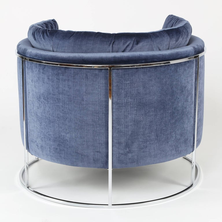Milo Baughman Chrome-Frame Barrel Lounge Chair, circa 1970s In Excellent Condition For Sale In Brooklyn, NY