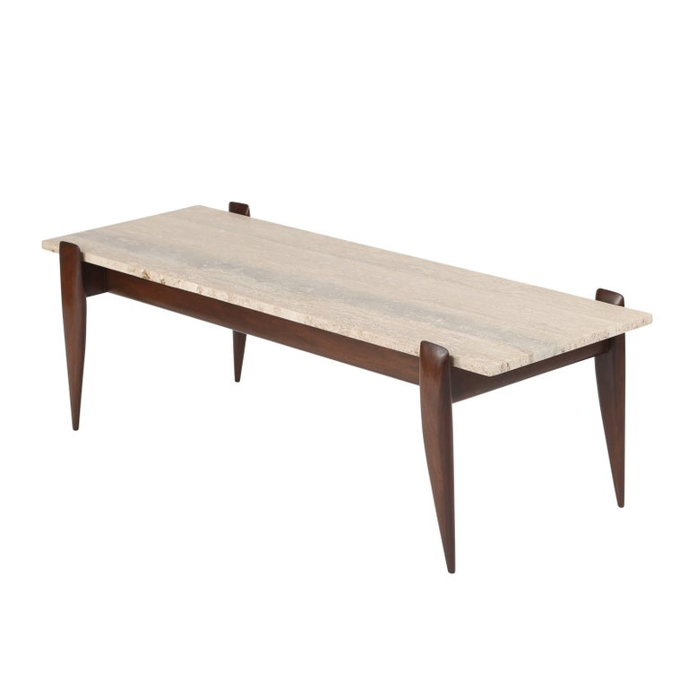 Gio Ponti for Singer & Sons Walnut and Travertine Coffee Table, circa 1950s