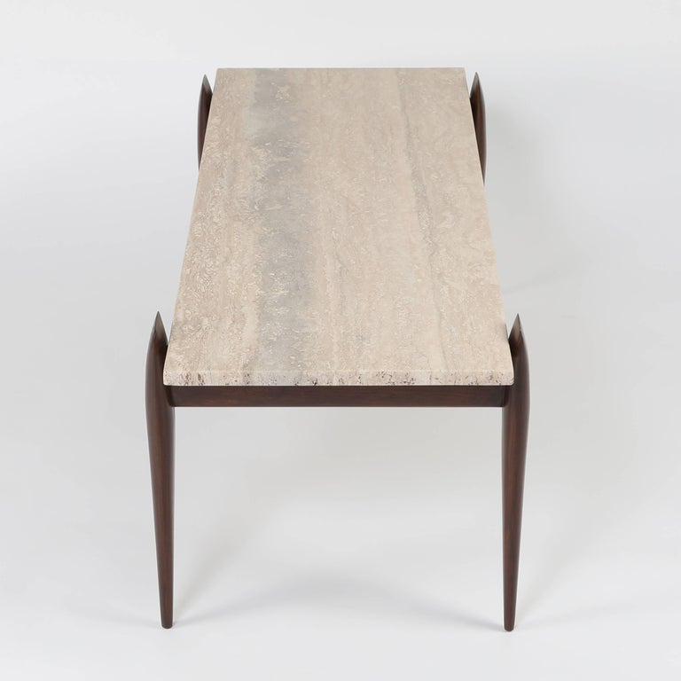 Gio Ponti for Singer & Sons Walnut and Travertine Coffee Table, circa 1950s In Excellent Condition For Sale In Brooklyn, NY