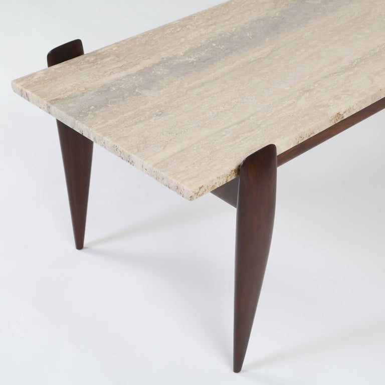 Gio Ponti for Singer & Sons Walnut and Travertine Coffee Table, circa 1950s For Sale 3