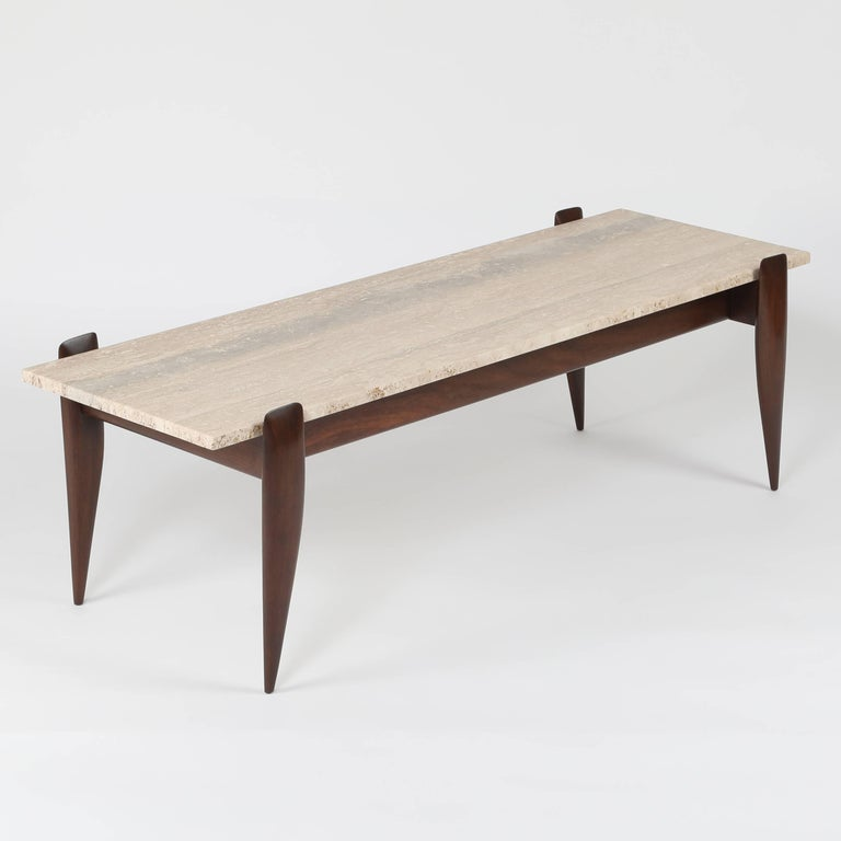Mid-20th Century Gio Ponti for Singer & Sons Walnut and Travertine Coffee Table, circa 1950s For Sale