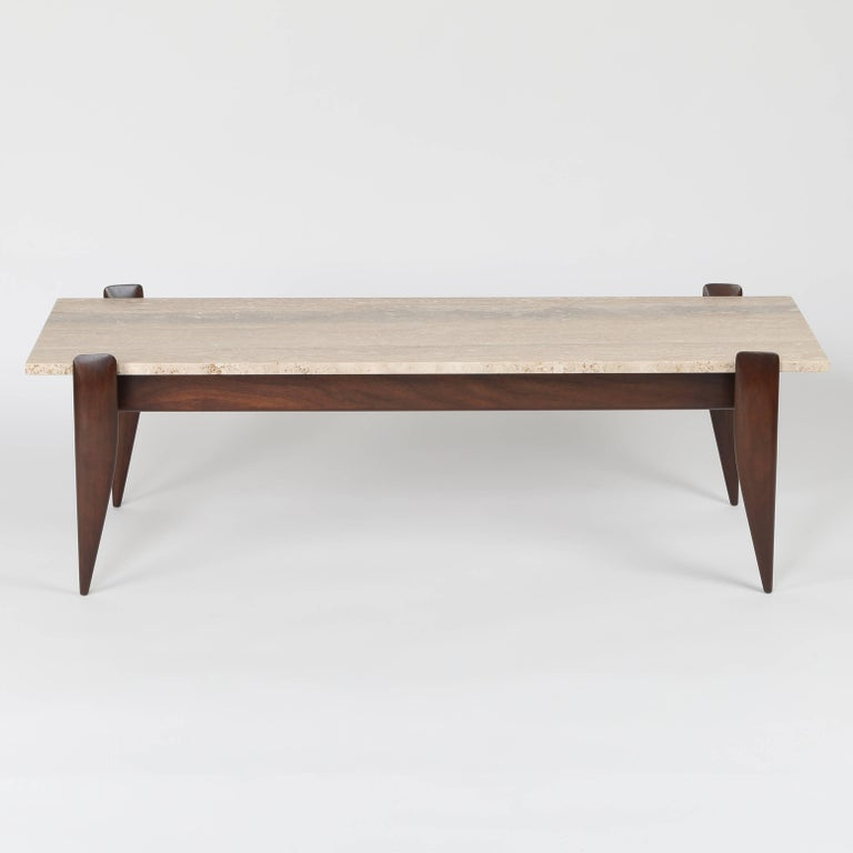 Gio Ponti For Singer And Sons Walnut And Travertine Coffee Table Circa 1950s For Sale At 1stdibs