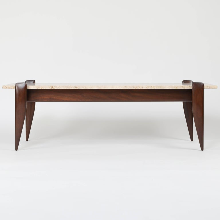 Gio Ponti for Singer & Sons Walnut and Travertine Coffee Table, circa 1950s For Sale 2