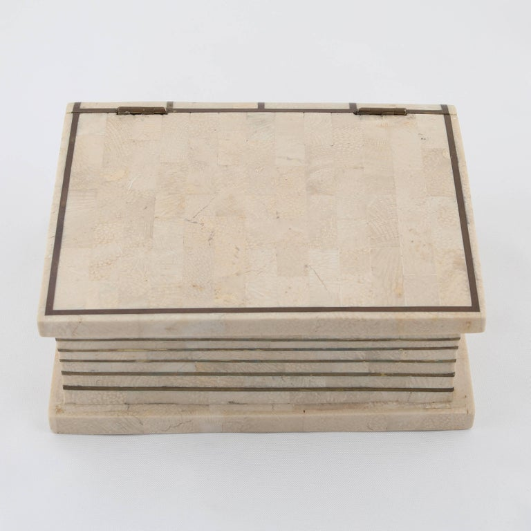 American 1980s Maitland Smith Book-Shaped Box Clad in Tessellated Stone with Brass Trim For Sale