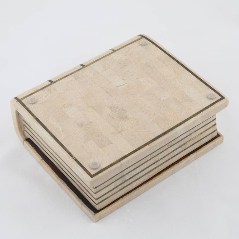 1980s Maitland Smith Book-Shaped Box Clad in Tessellated Stone with Brass Trim For Sale 3