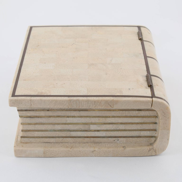 Late 20th Century 1980s Maitland Smith Book-Shaped Box Clad in Tessellated Stone with Brass Trim For Sale