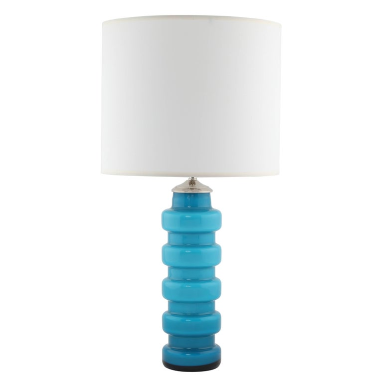 Blue cased glass table lamps by pers olof strm for alsterfors fine pair of 1960s cased glass table lamps featuring a blue glass exterior over white greentooth Image collections