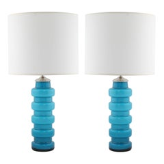 Blue Cased-Glass Table Lamps by Pers-Olof Ström for Alsterfors, circa 1960s