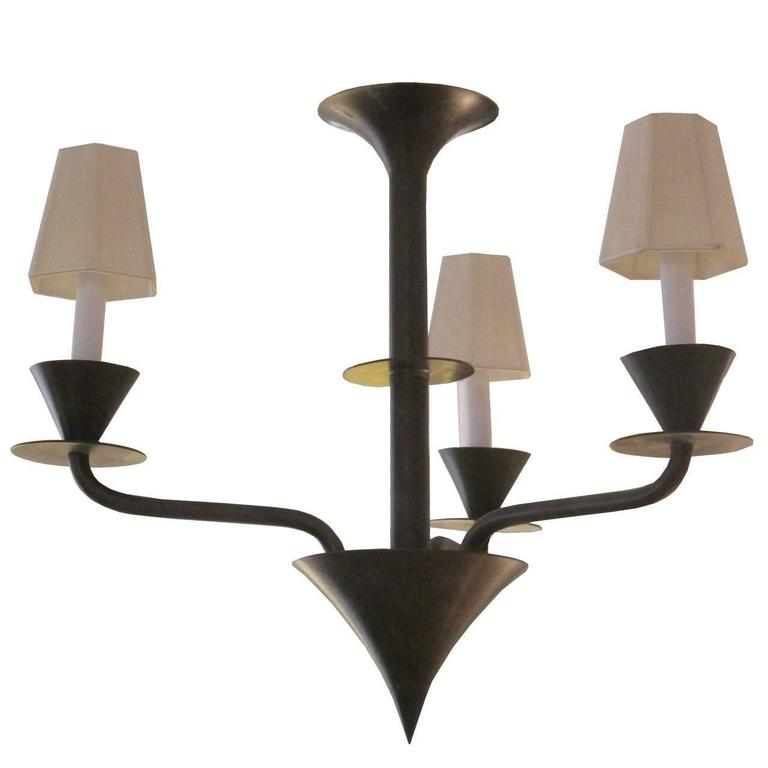 Bronze Modernist Three Light Hanging Fixture For Sale At