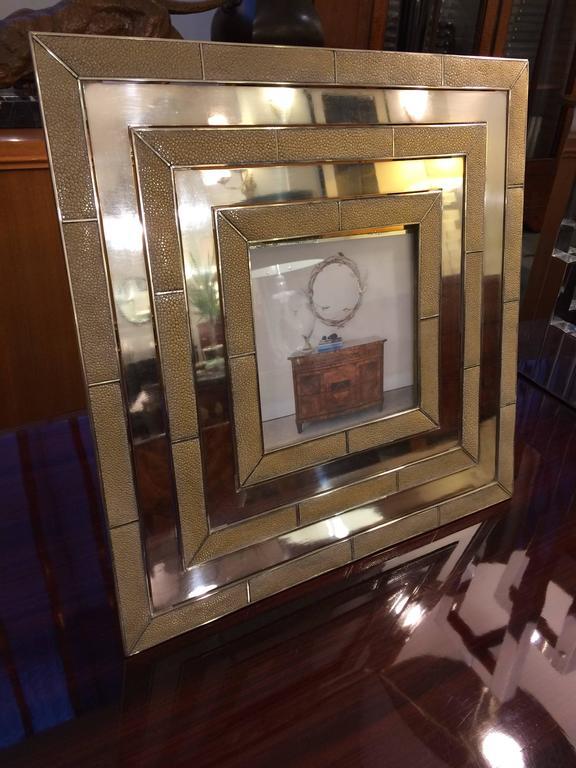 A Gabriella Crespi designed modernist picture frame. Silvered bronze and shagreen.