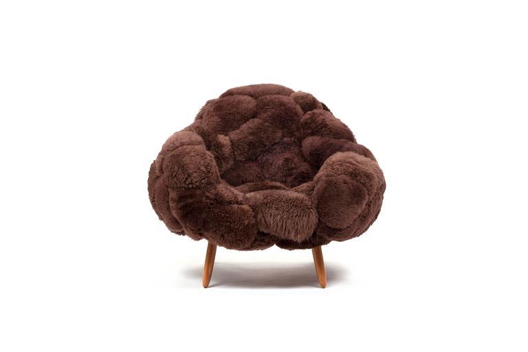 Brazilian Fernando & Humberto Campana, Bolotas Armchair Café, Sheep's Wool, Ipê Wood 2015 For Sale
