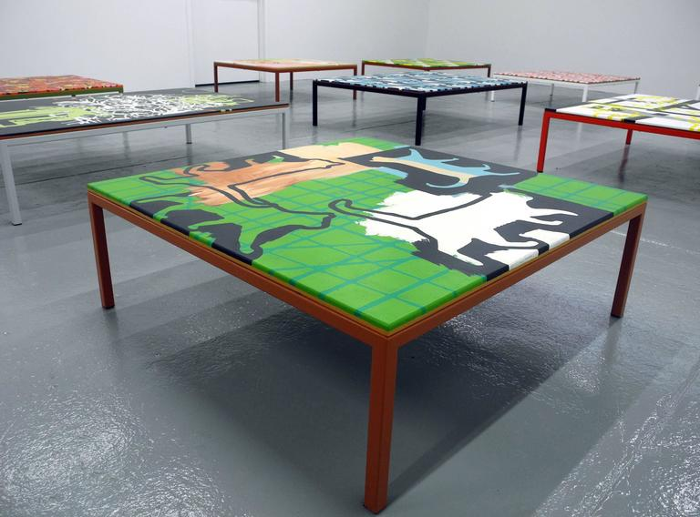 "Cat Coffee Table richard woods, ""get the cat off the table (aj)"" coffee table, 2016"