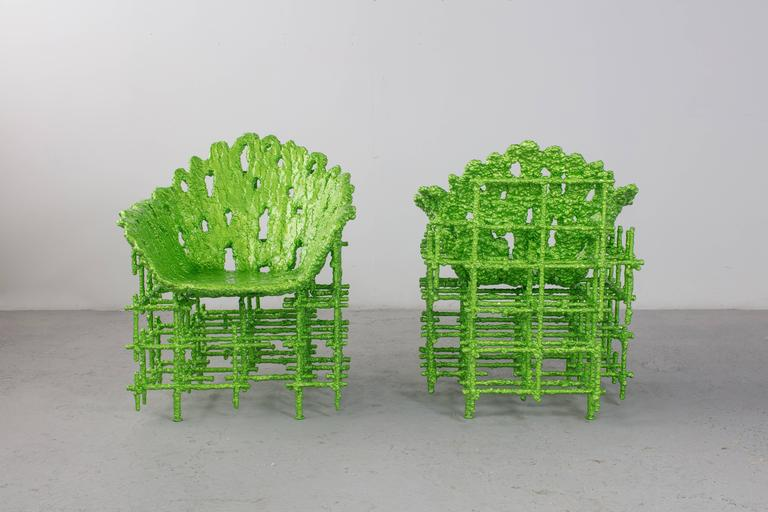 American Modern Chris Schanck, Chair, Resin, Aluminum, Polystyrene, Steel, Green, 2016 For Sale